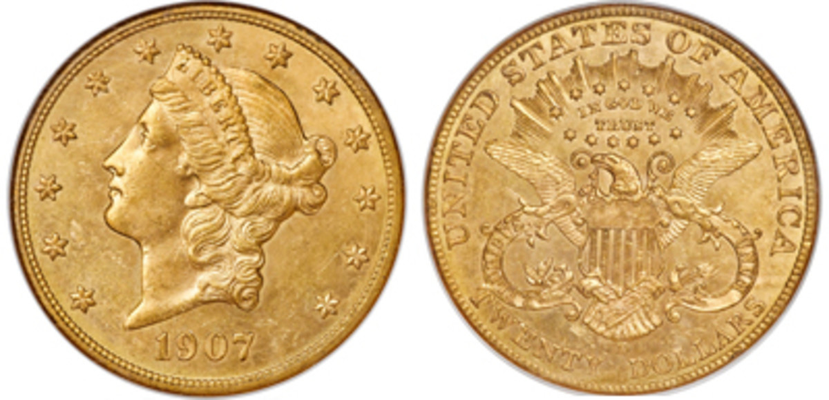 1907-D Liberty Head Twenty, MS63. (Images courtesy of Heritage Auctions www.ha.com)