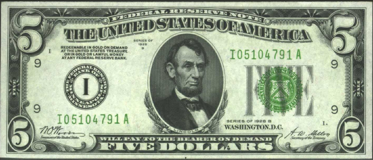Minneapolis 1928-B $5 Federal Reserve Note. Sold for $166 in 2002. (Images courtesy of Heritage Auctions www.ha.com)