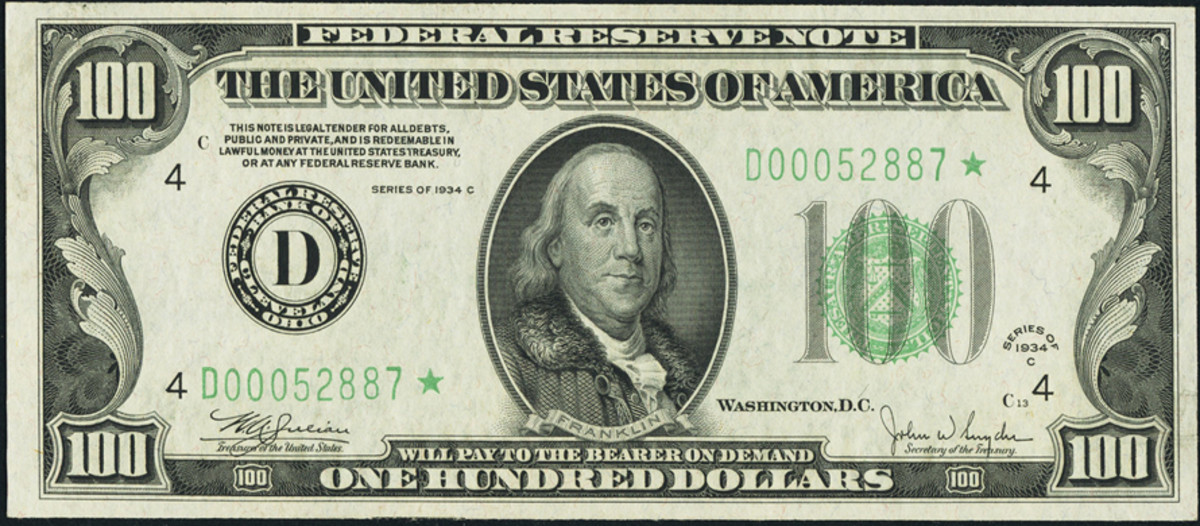 Fr. 2155-D* $100 1934C Federal Reserve Note. Sold for over $5,000 in 2007.
