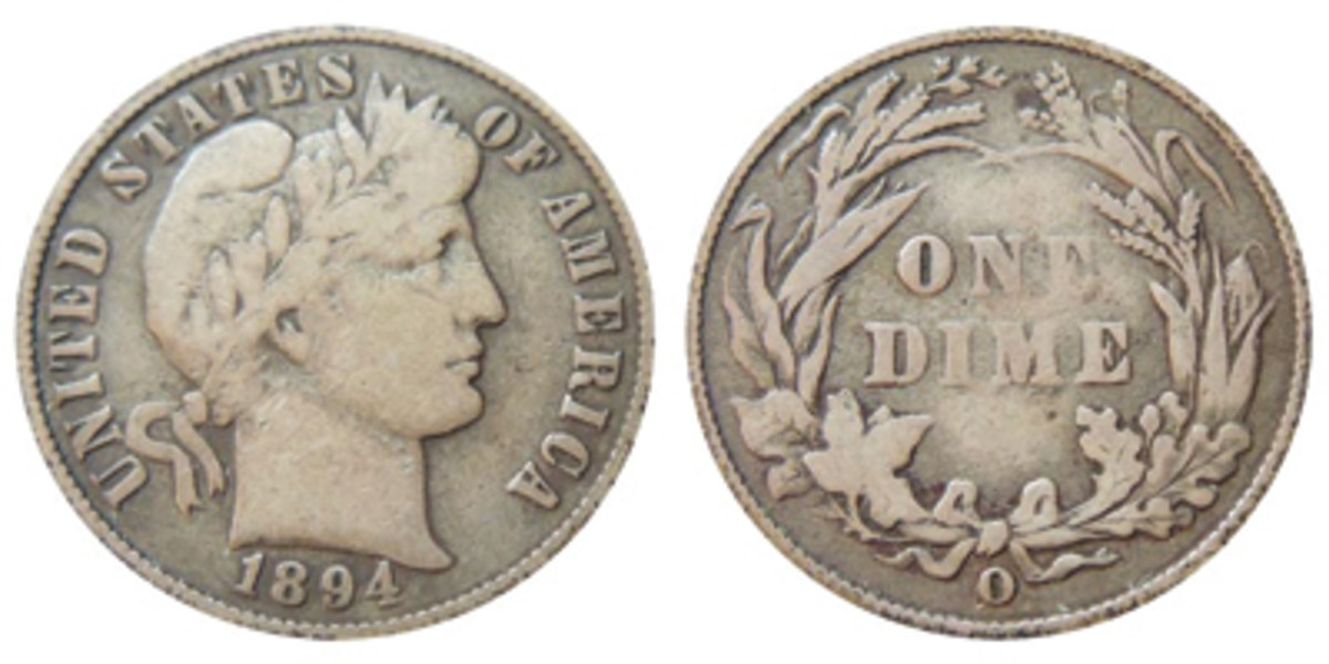 Despite its life of circulating and largely being ignored by collectors, the 1894-O Barber dime is surprisingly affordable in Mint State grades. (Images courtesy usacoinbook.com)