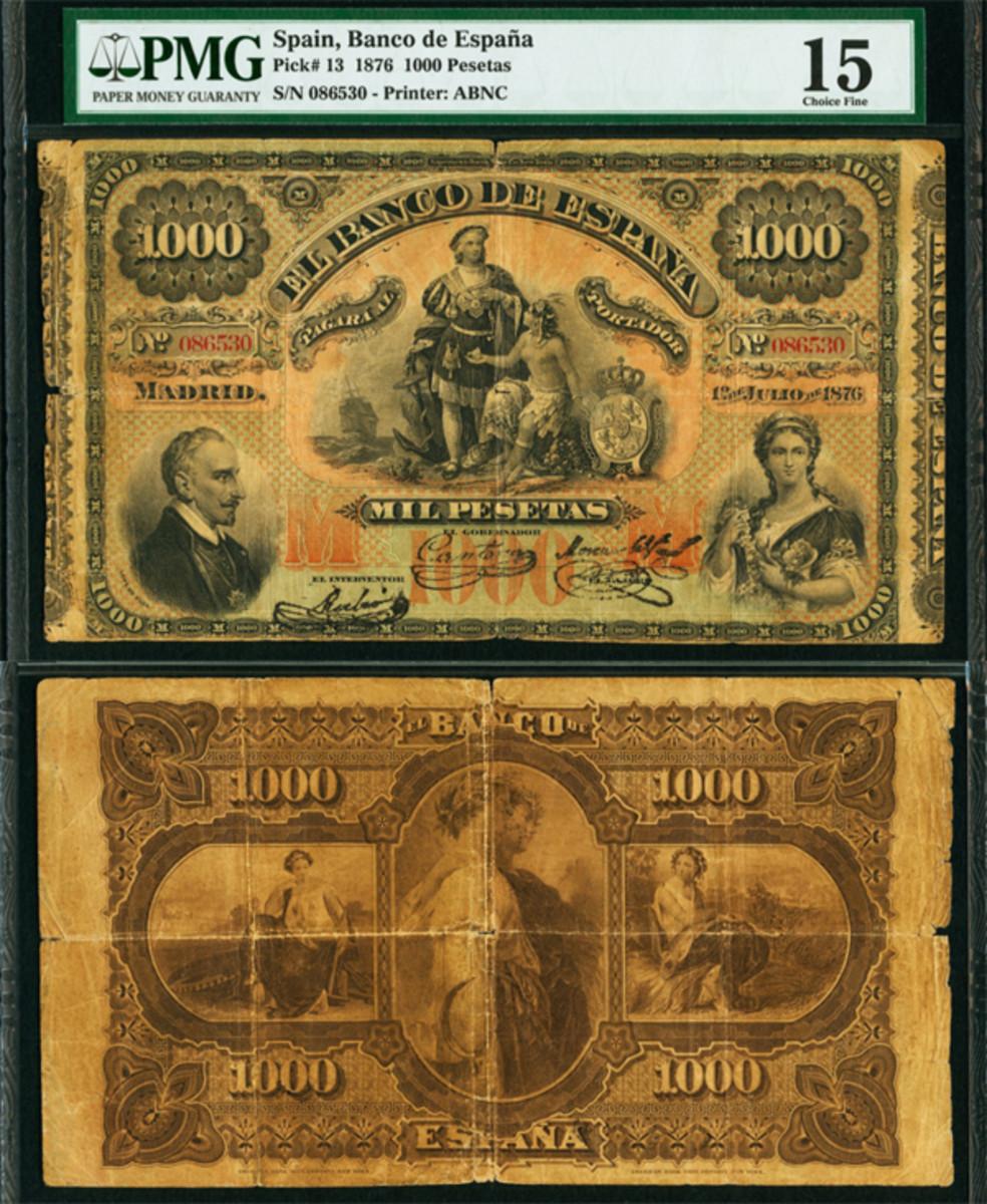 Spain Banco de Espana 1876 1000 Pesetas