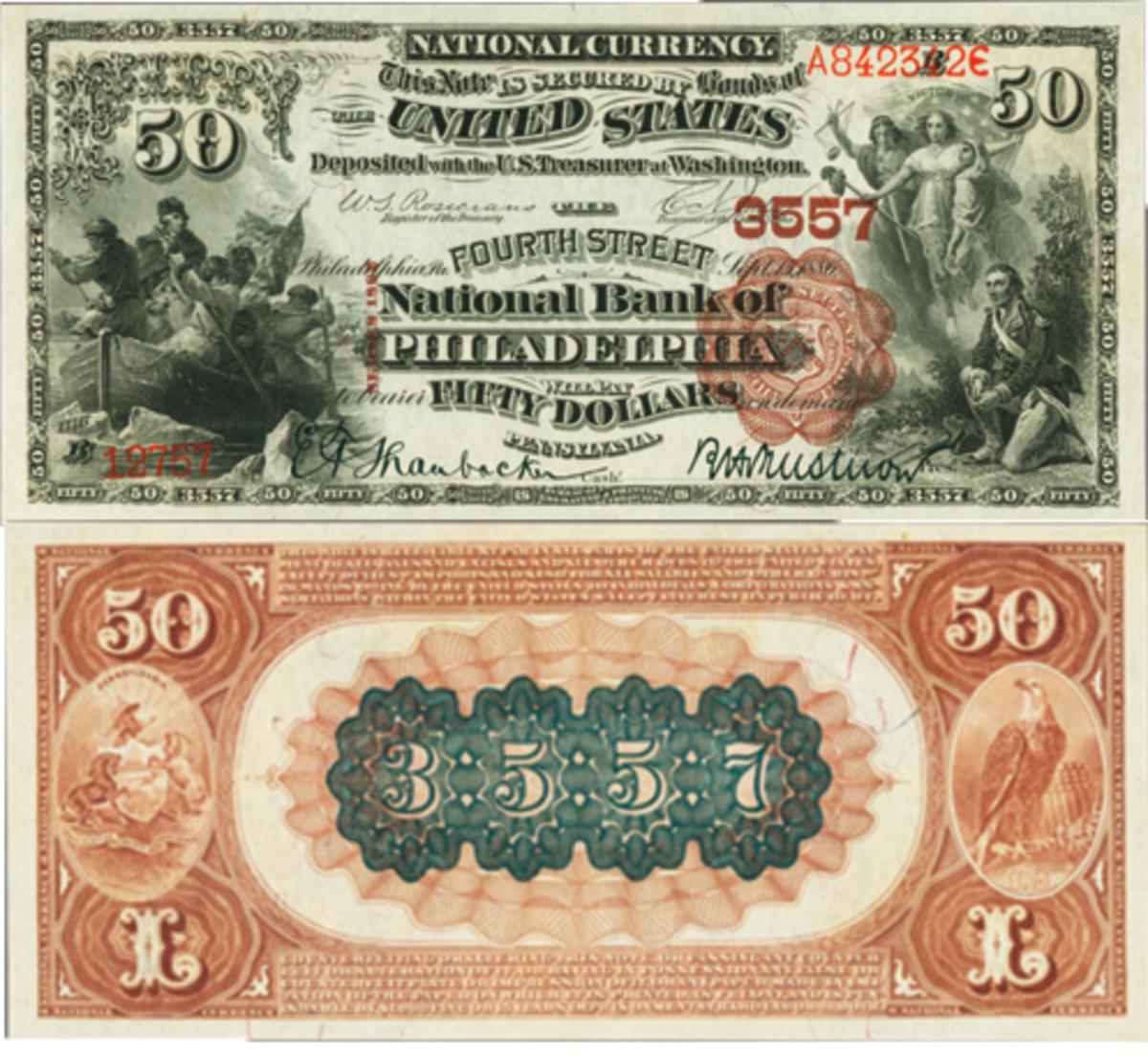 1882 $50 Philadelphia, Pennsylvania, Brown Back