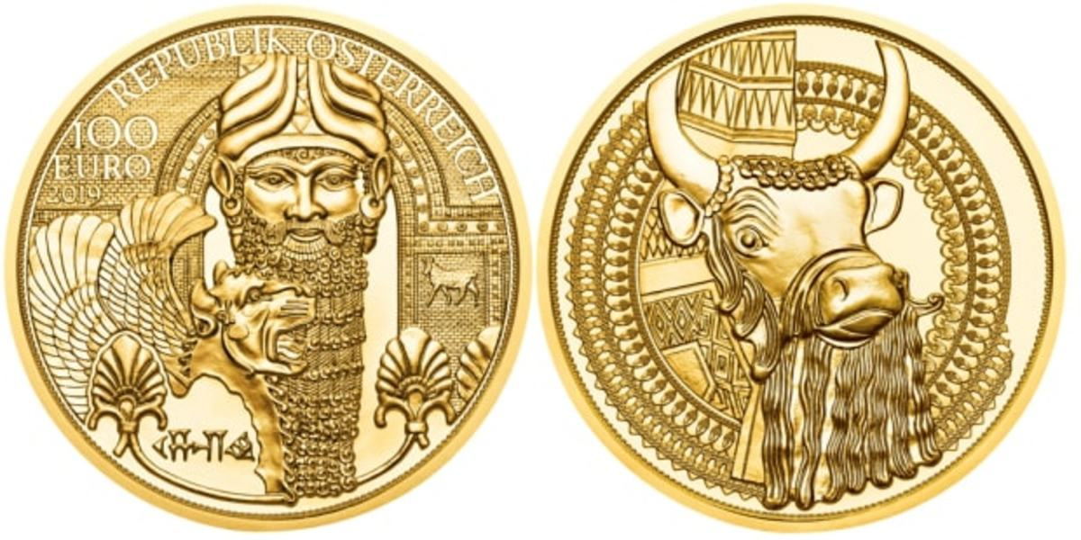"""The Austrian Mint's """"Magic of Gold: The Gold of Mesopotamia"""" 100-euro gold coin."""