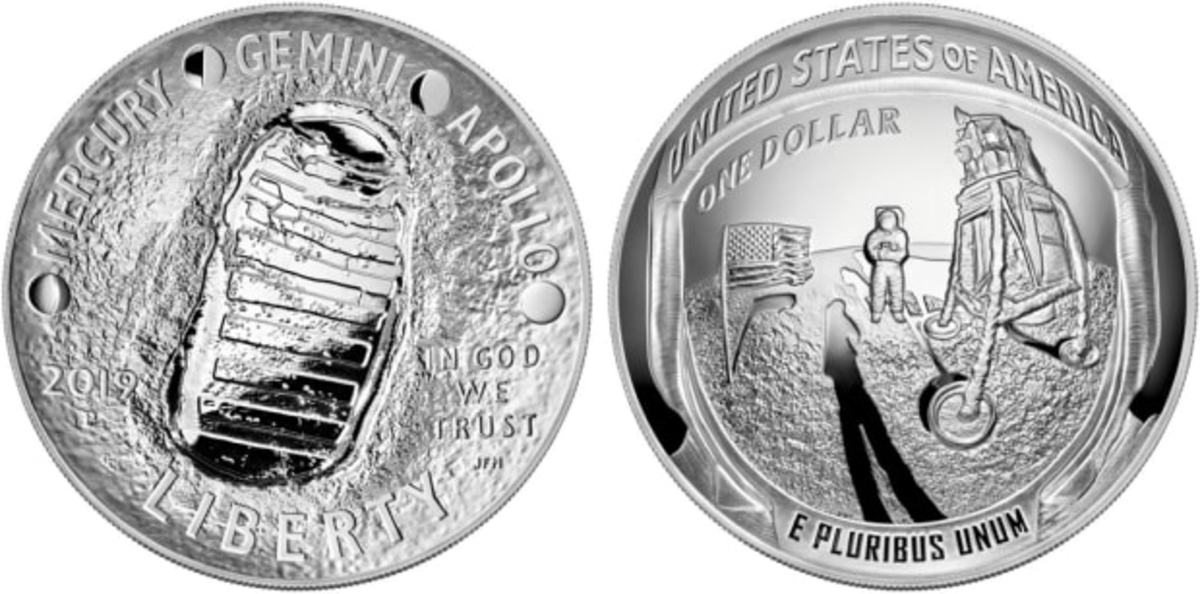 """The United States Mint's """"50th Anniversary of the Moon Landing"""" 1-dollar 5-ounce silver coin."""