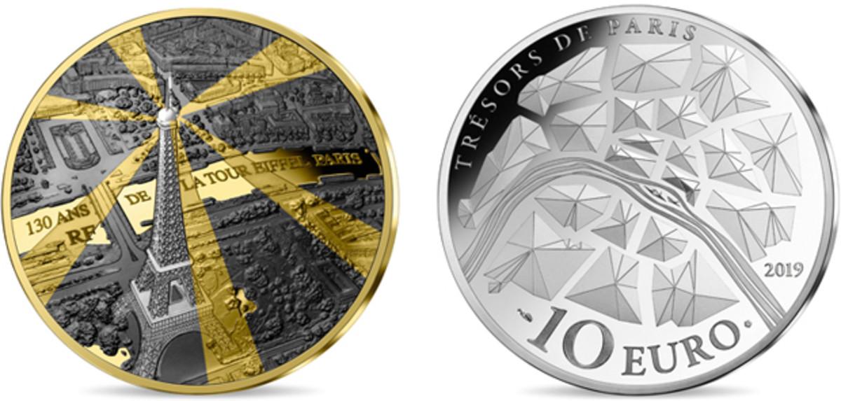 "Monnaie de Paris' ""City of Lights: Eiffel Tower"" 10-euro coin composed of silver, gilt and rhodium."