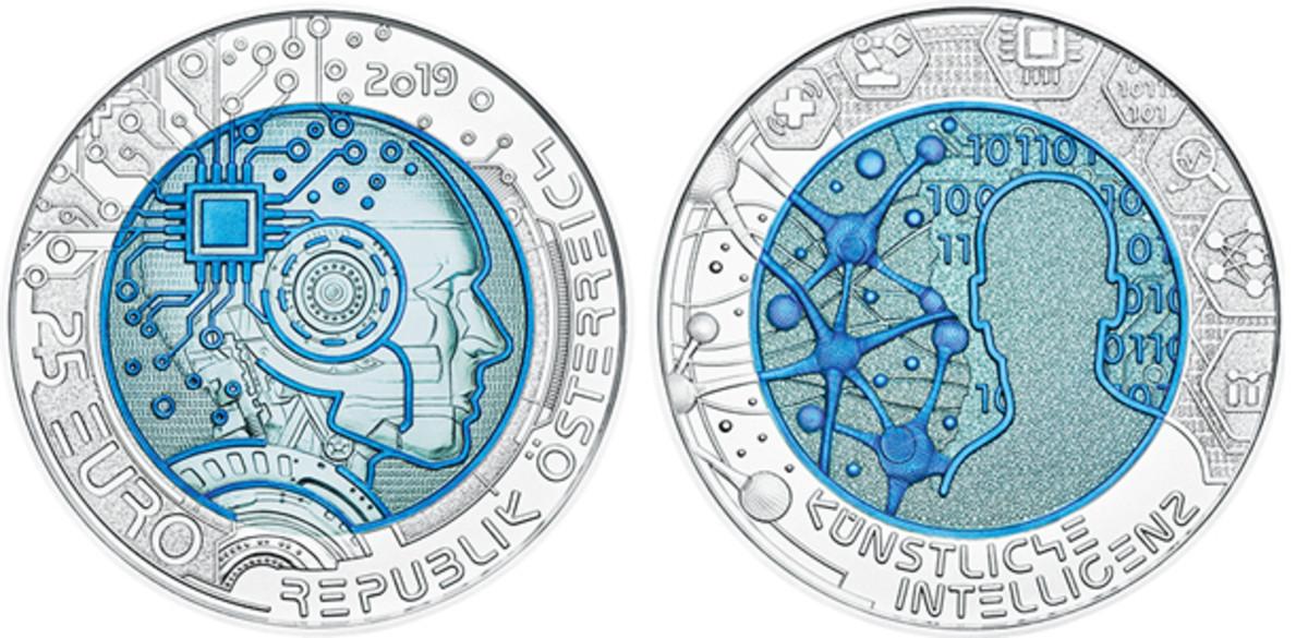 "The Austrian Mint's ""Artificial Intelligence"" 25-euro bi-metallic coin composed of silver niobium."