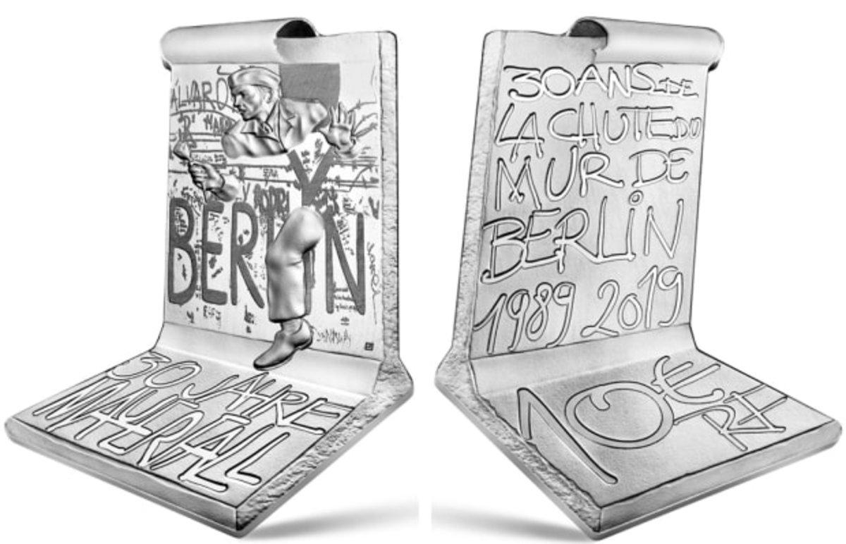 "Monnaie de Paris' ""Fall of the Berlin Wall"" 10-euro silver coin."