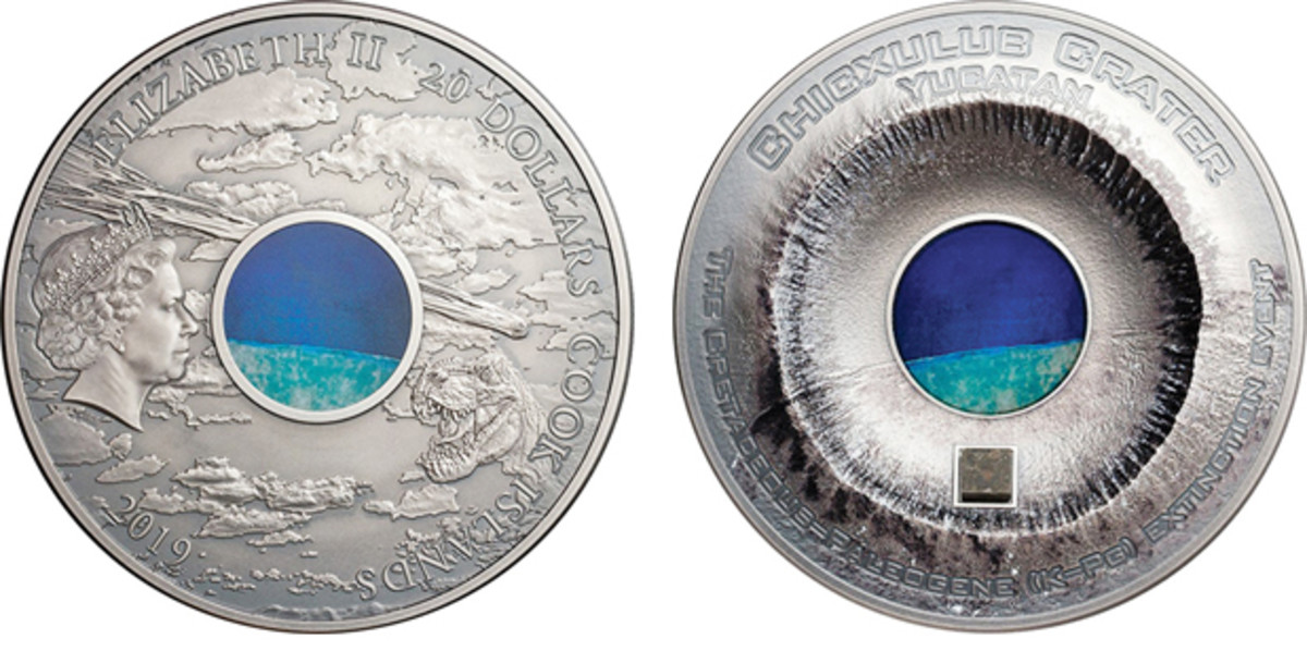 """NumisCollect's Cook Islands """"Meteorites: Chicxulub Crater"""" 20-dollar silver coin."""