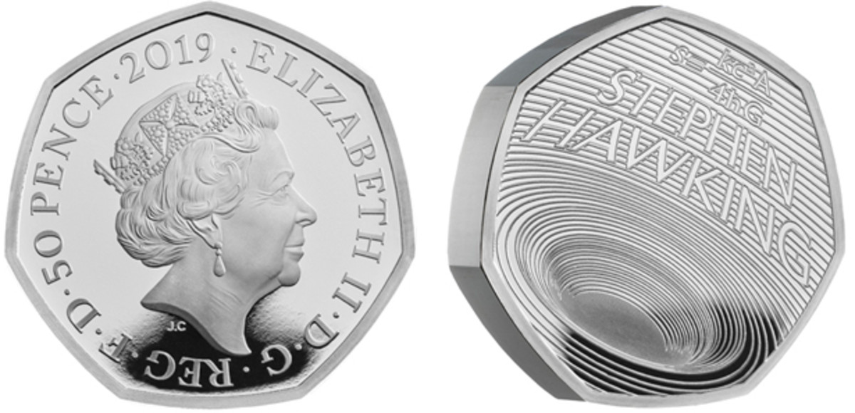"""The British Royal Mint's """"Innovation in Science: Stephen Hawking"""" 50-pence silver coin."""