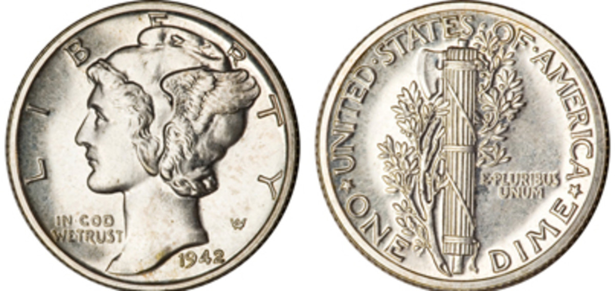1942 Mercury Dime which sold for just over $195. (Images courtesy of Heritage Auctions www.ha.com)