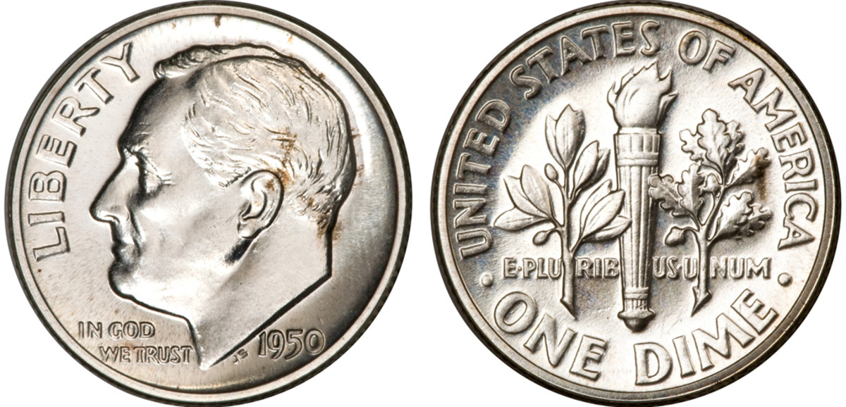 This 1950 Roosevelt Dime was sold at auction for only $74. (Images courtesy of Heritage Auctions)