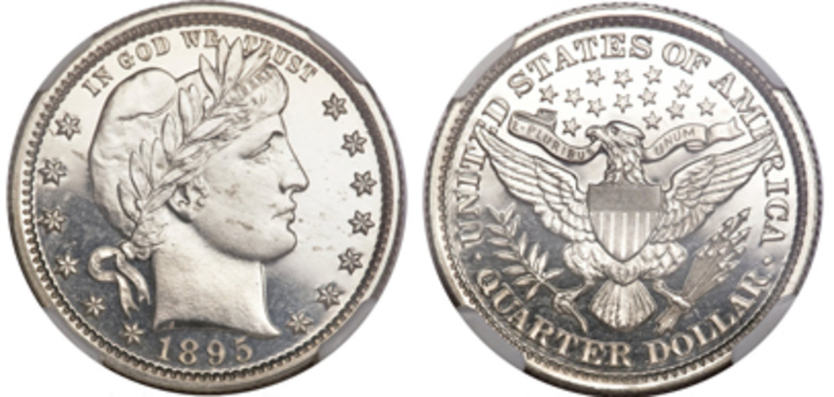 1895 Barber Quarter which sold at auction for $1,092. (Images courtesy of Heritage Auctions)