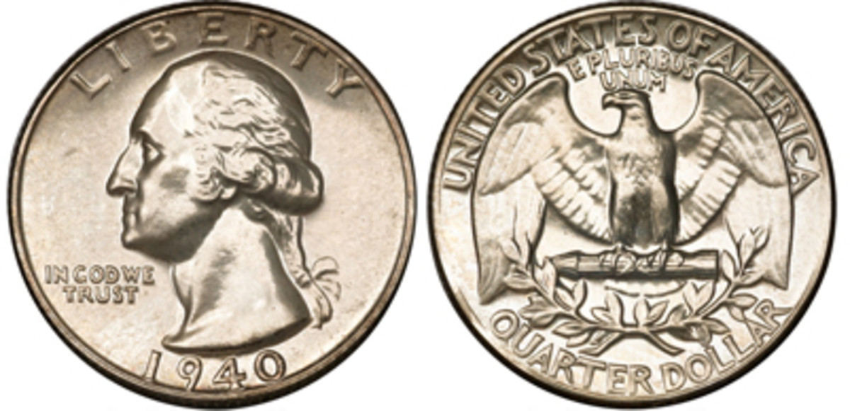 This 1940 Washington Quarter sold for only $120 at auction, compared to similarly graded Washington quarters from the 1950's which sold for about $50. (Images courtesy of Heritage Auctions)