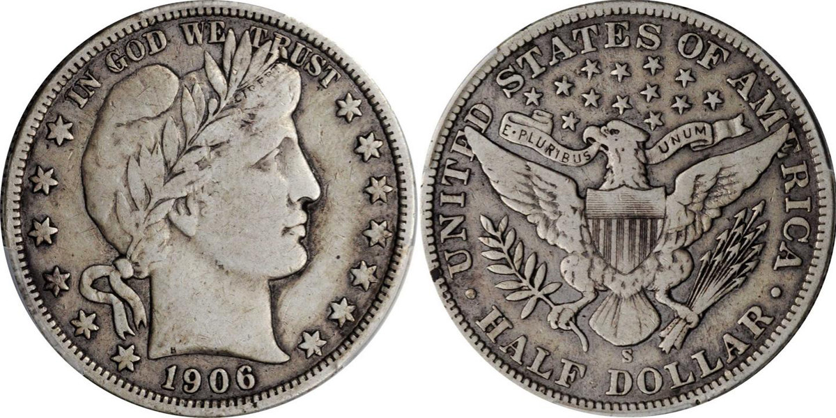 A 1906 Barber Half Dollar, this piece sold at auction for only $110. (Images courtesy of Stacks-Bowers)