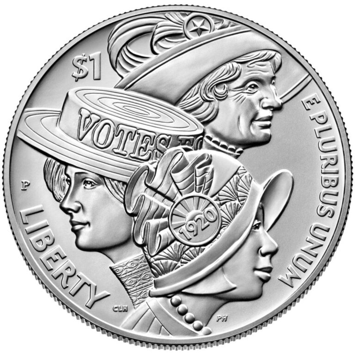 Women's Suffrage Centennial silver dollar. (Image courtesy U.S. Mint.)