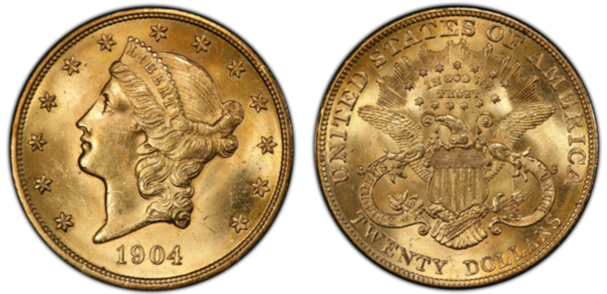 1904 gold $20 Liberty. Images courtesy of Heritage Auctions.