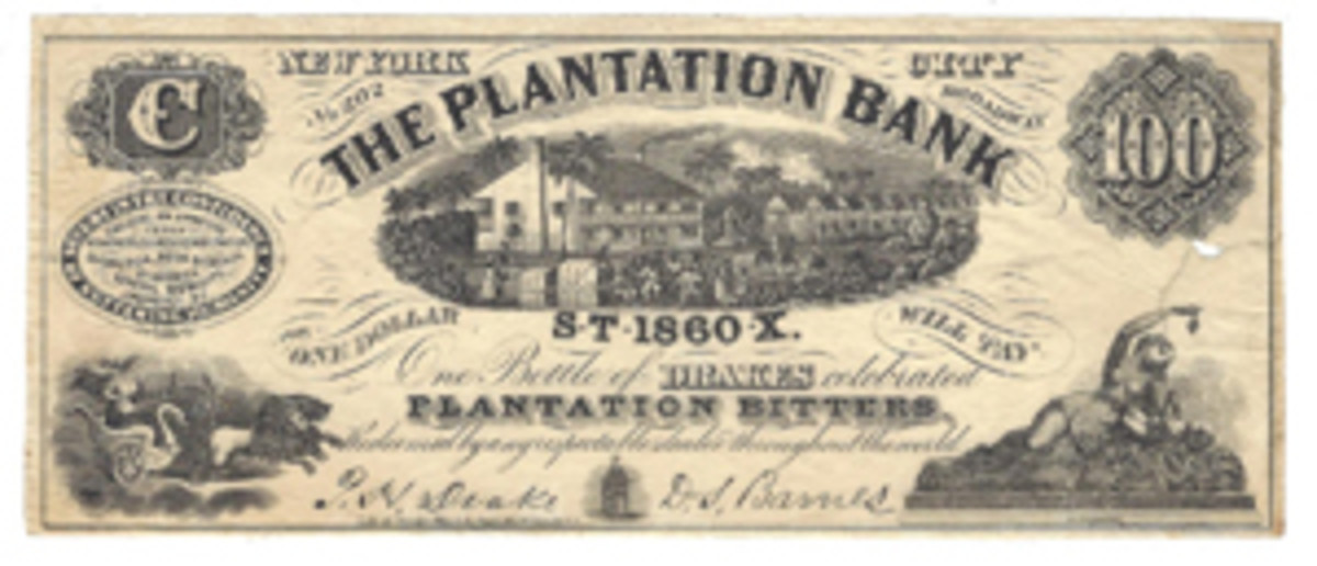 Some ad notes are purposely made to resemble actual currency; this Plantation Bank piece dated 1860 is a perfect example. Advertising is a kind of low-energy propaganda, as it encourages the reader to take part in whatever is being offered.