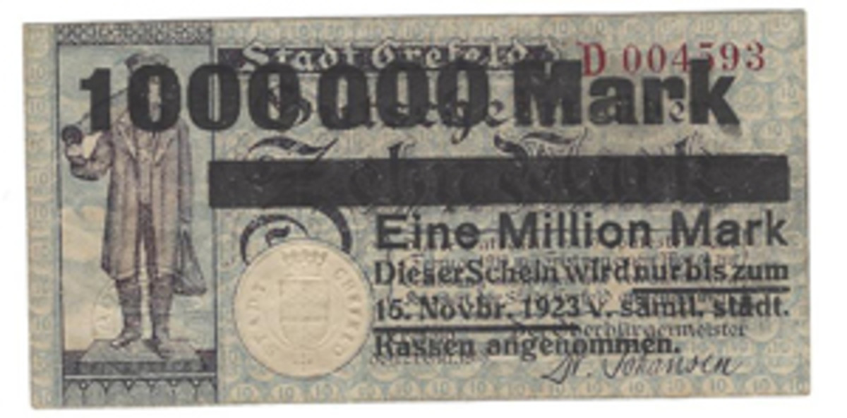 This German 10-mark city issue of 1918 from Crefeld was revalued as 1 million mark during the severe hyperinflation of 1923.