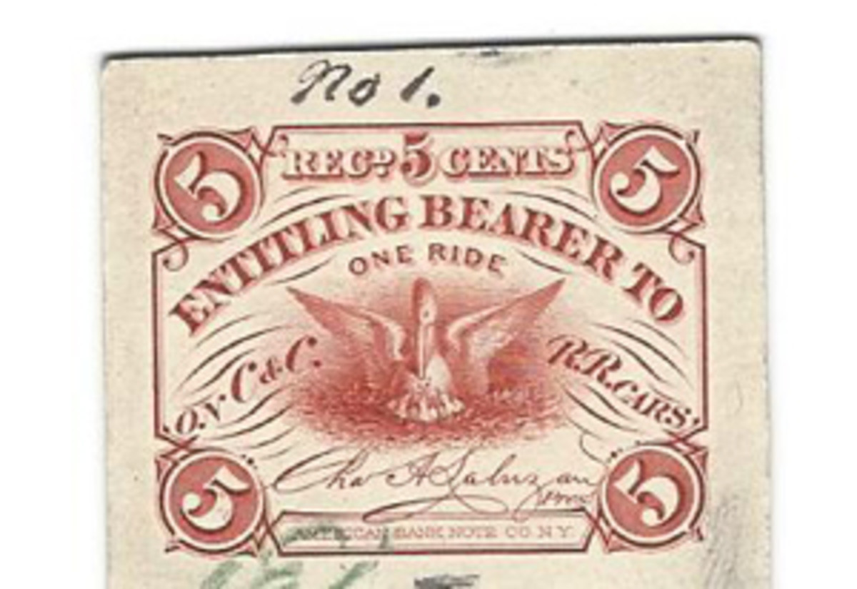 ABN printed all sorts of things besides paper money. This 5c fare ticket from the CCRR line in New Orleans during the 1860's is a prime example.