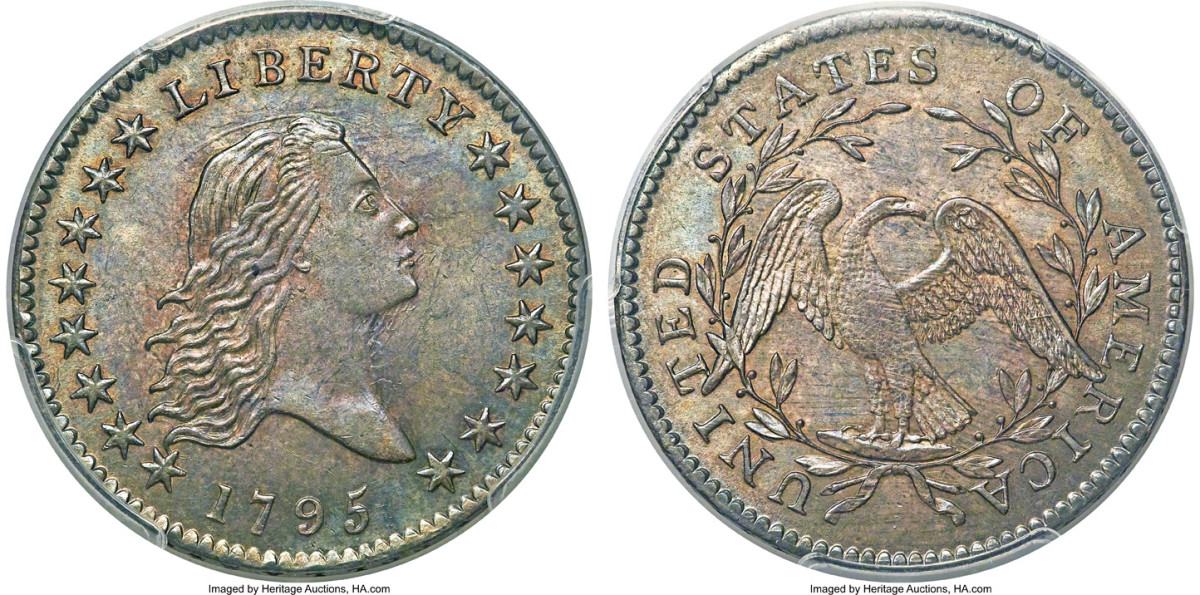The Bob R. Simpson finest known 1795 O-117 half dollar, graded MS-65+, brought $552,000. (All images courtesy Heritage Auctions, HA.com.)
