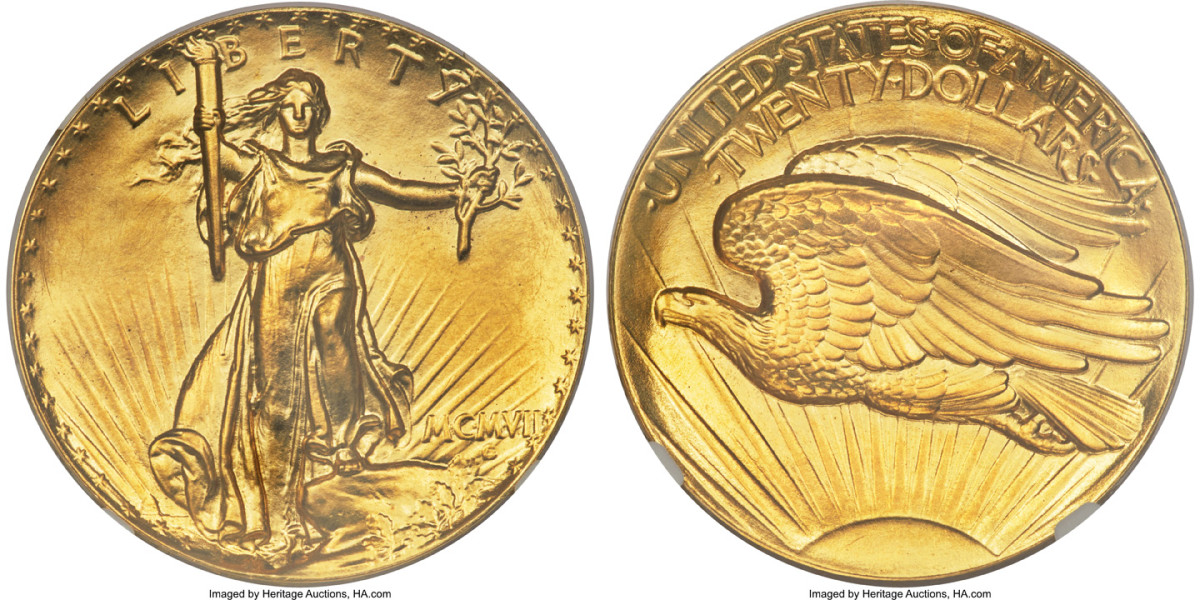 From the Paramount Collection, a 1907 Ultra High Relief double eagle gold coin, graded Proof-68, commanded an impressive $3.6 million.