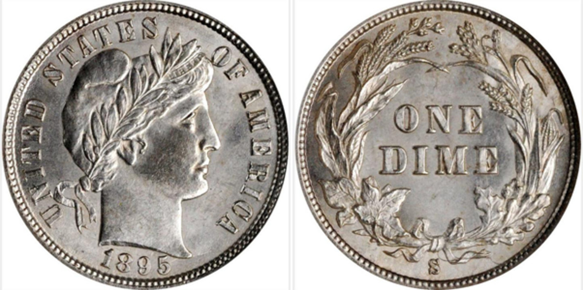 This 1895-S Barber Dime MS-64 sold at auctions for $1,320 (Images courtesy of Stacks-Bowers)