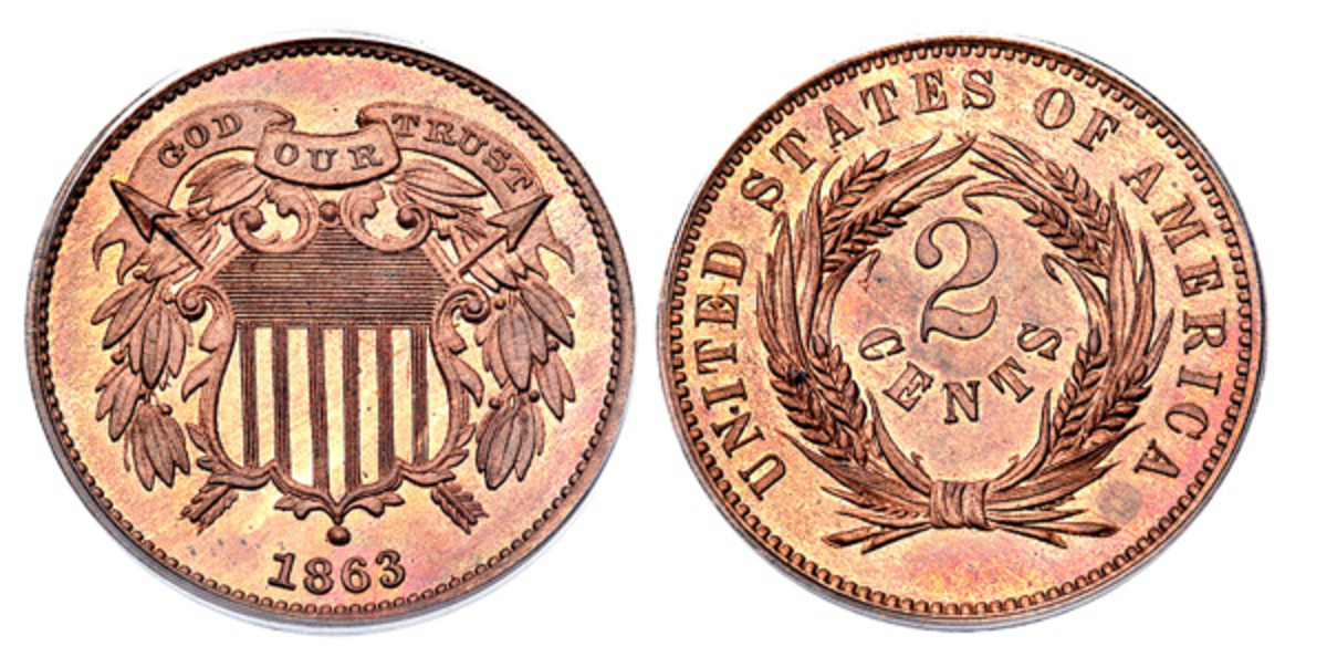 1863 pattern two-cent piece, shield design. (Images courtesy of Heritage Auctions www.ha.com)