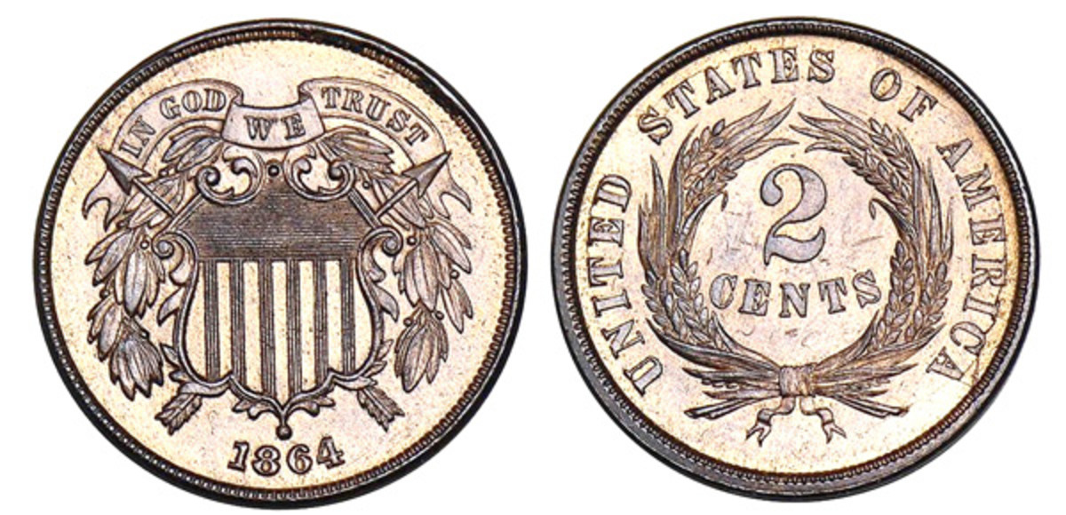Regular issue 1864 two cents with large motto. (Images courtesy of Stacks-Bowers)
