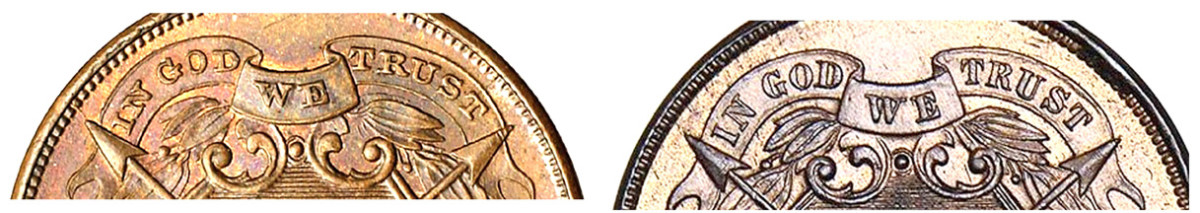 1864 small motto (left) and 1864 large motto (right). (Images courtesy of heritage Auctions www.ha.com)