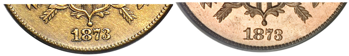 1873 open 3 (left) and 1873 closed 3 (right). The 1873 two-cent piece, struck only in proof for collectors, has two different kinds of the figure 3. (Images courtesy of Heritage Auctions www.ha.com)