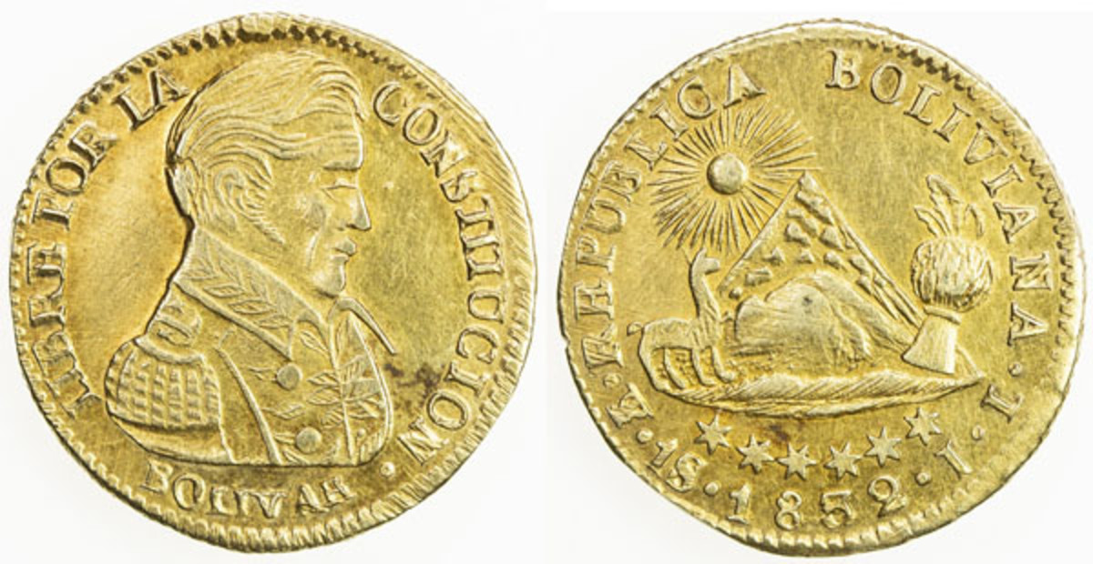 An outstanding example of the common KM98 gold Scudo of Bolivia. Graded EF with adjustment marks and considered rare without the overdate. It seems to be as struck to me and well worth the $900 for which it sold regardless.