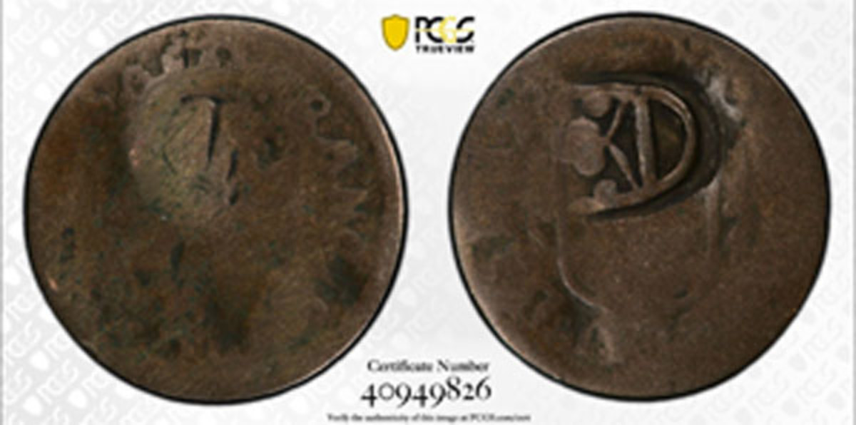 An unusual Bremen silver Groten host type for the St. Bartholomew Swedish crown countermark brought $1,920. These crown countermarks are almost always struck on billon 2 sou's of Cayenne. Finding a silver host of any kind is a rare event.