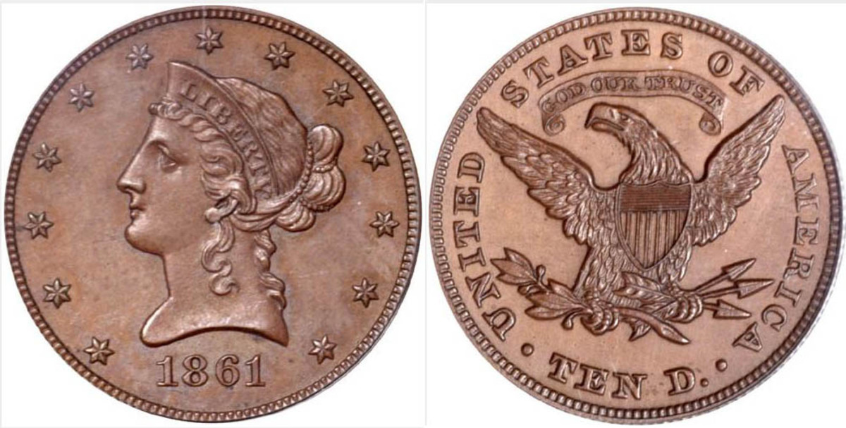 """1861 pattern eagle with motto """"God Our Trust"""""""