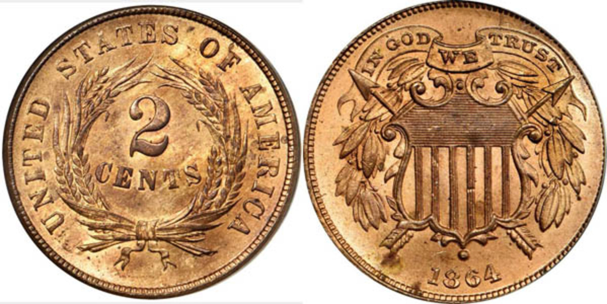 """1864 Two-Cent piece with the motto """"In God We Trust"""""""