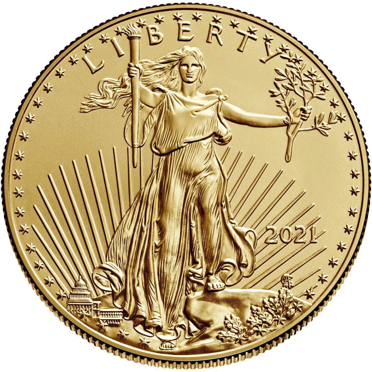 2021 one-ounce American Eagle gold bullion coin. (Image courtesy U.S. Mint.)