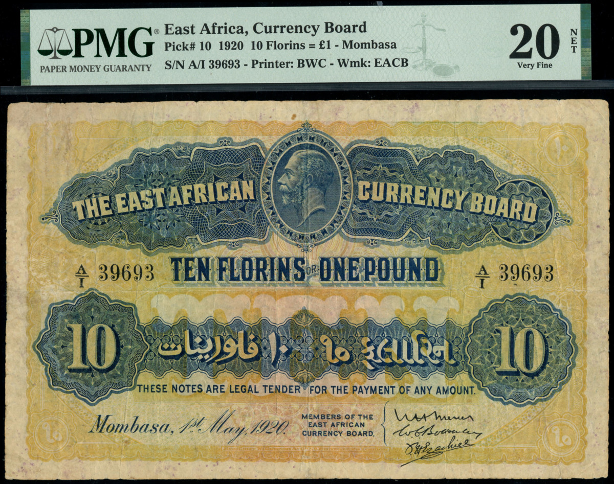 East African 10 florin note.