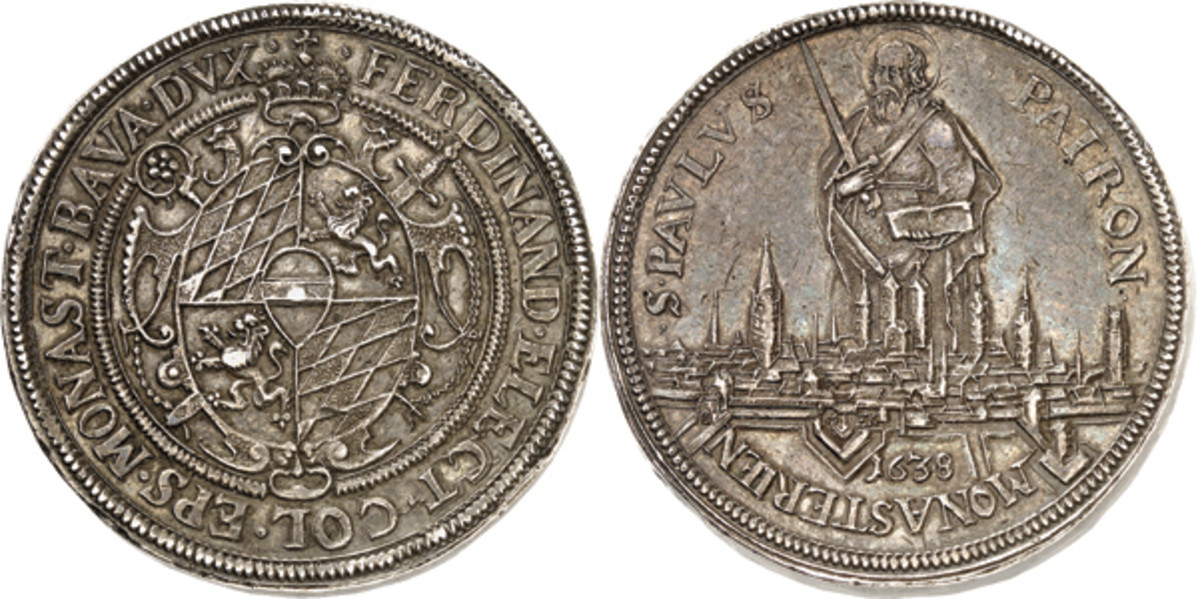 Ferdinand of Bavaria graces this 3 reichstaler of the Bishopric of Münster struck in 1638. In about XF this rarity hit a hammer of $166,300.