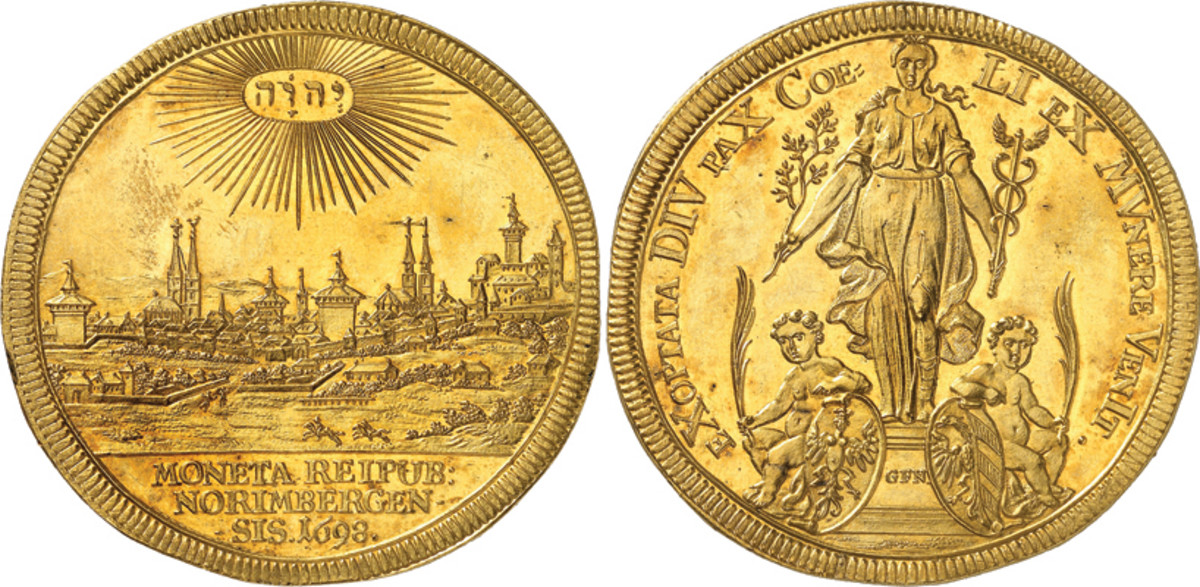 This Nuremberg 1698 5 ducats struck for the one year anniversary of the Peace of Ryswick in stunning FCD condition, NGC MS63, realized triple its estimate to hammer down at roughly $142,500.