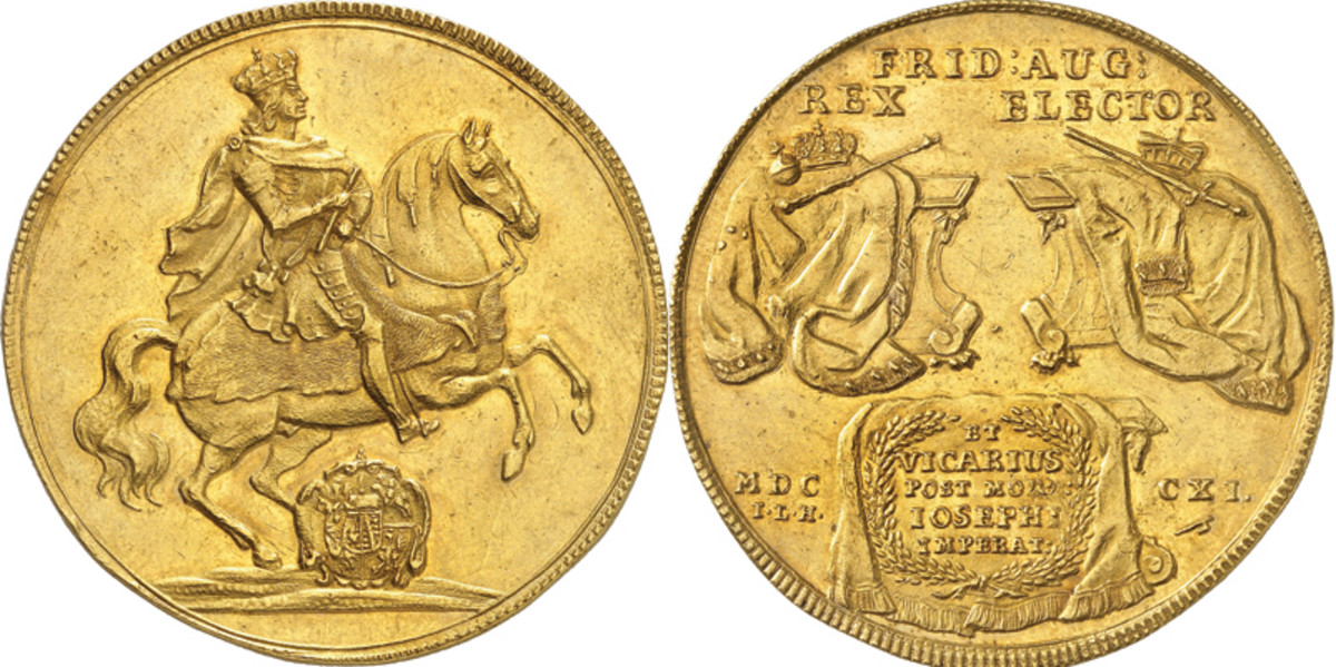 It is likely there are only two surviving examples of this equestrian portugalöser or 10 ducat struck in 1711 under Frederick Augustus I of the Saxony-Albertine line. Hammer price reached just over $260,000.