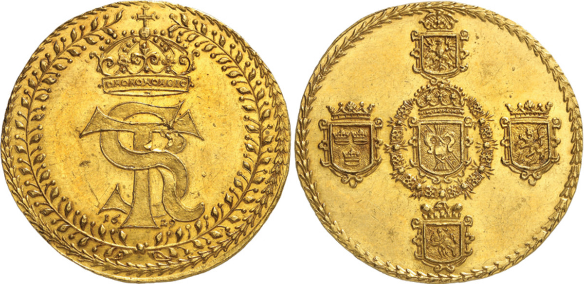 Unlisted in the Standard Catalog of World Coins and considered a medallic issue by some, this Sigismund III 10 ducat of 1629 is a real rarity with two known, one of which is in a museum. It realized approximately $332,600 in this first Künker auction of 2021.