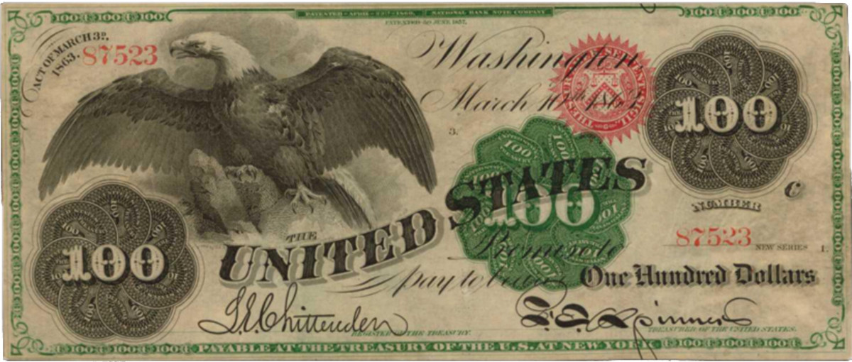 $100 1863 Spread Eagle U.S. Legal Tender note