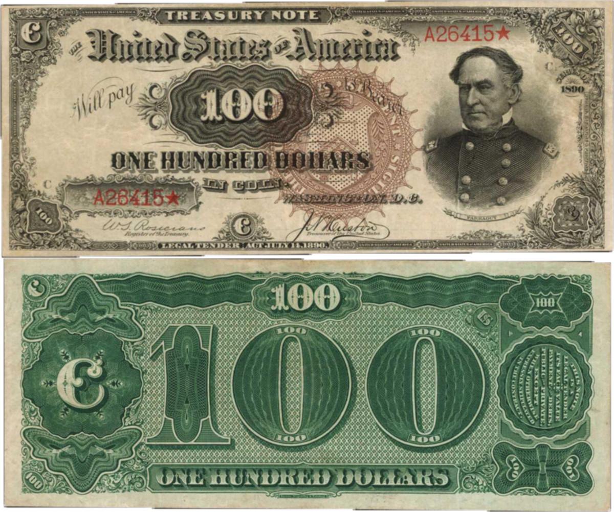 """1890 $100 Treasury Note having the """"watermelon"""" back"""