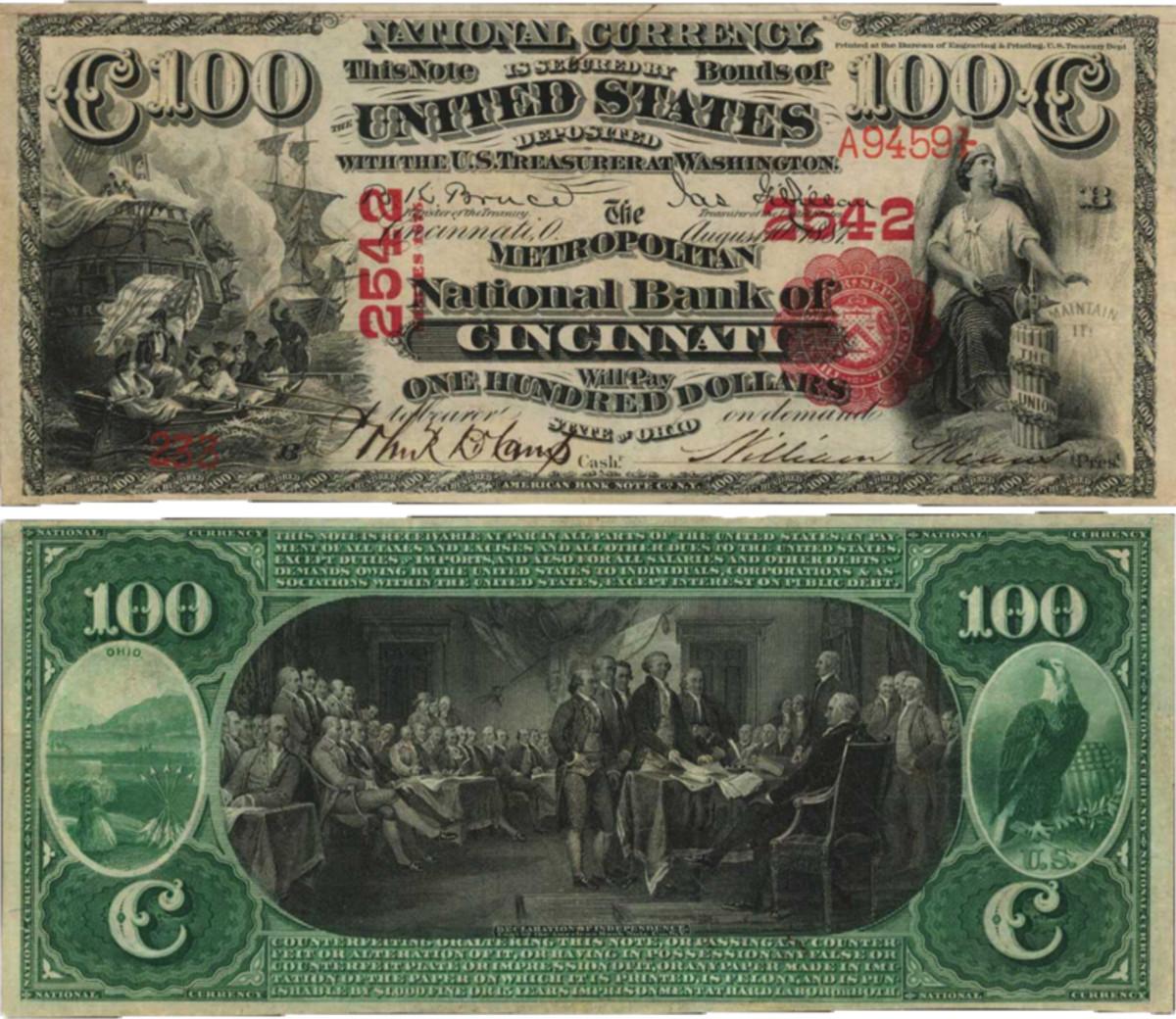 1875 $100 Cincinnati, Ohio, The Metropolitan Bank
