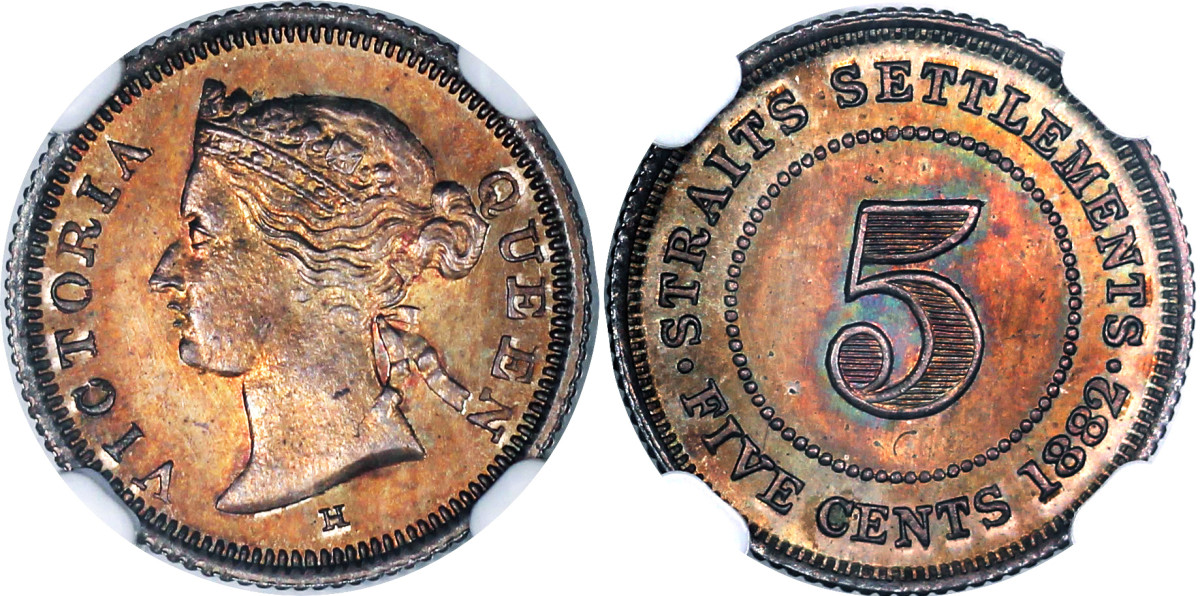 A very rare proof 1882 H five cents struck for the Straits Settlements during its period as a Crown Colony. This is one piece in a set of three containing 5 cent, 10 cent and 20 cents, all of 1882, struck to impeccable standards at the Heaton Mint and sold when its archive was bought by Paramount.