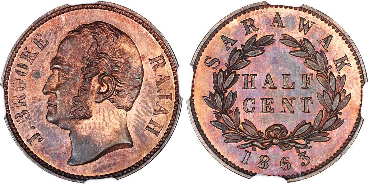 This proof half cent of 1863 features James Brooke, the first British Rajah of Sarawak was offered in an equally graded NGC PR 64 RB set along with the ¼ cent and 1 cent of the same date.