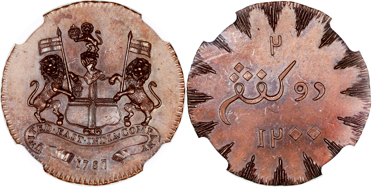 This British United East India Company AH1200//1787 copper 2 Keping pattern with short rays and small date, grading NGC MS63 realized $12,225. You'll find these in the SCWC under Netherlands East Indies, Island of Sumatra.