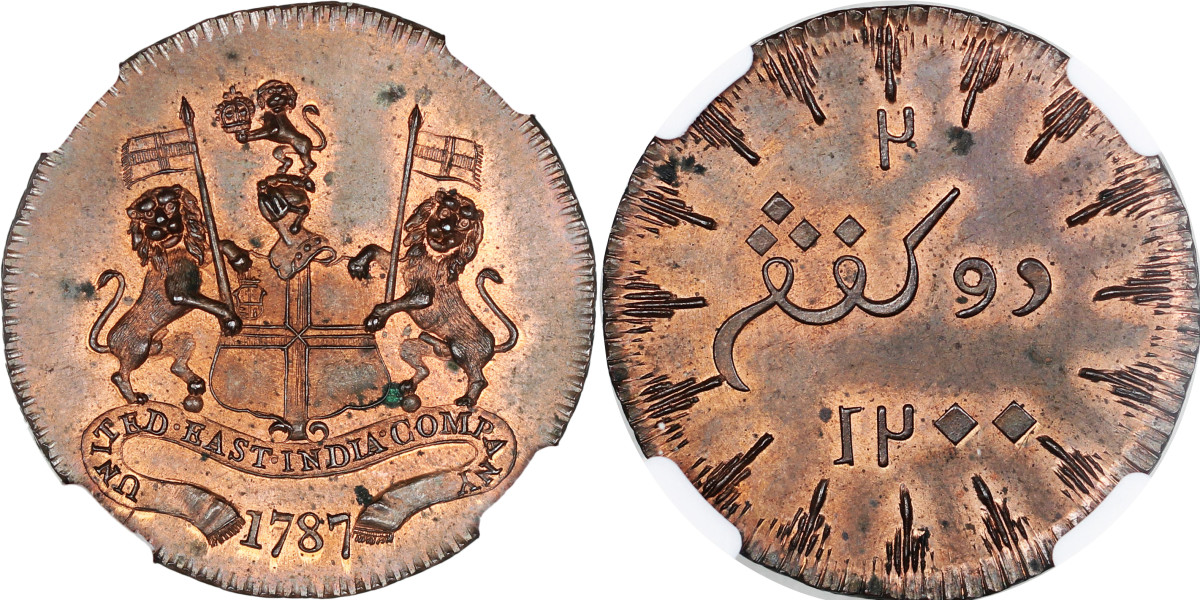 This is a British United East India Company AH 1202//1787 copper 2 Keping pattern with long rays and a denomination error on reverse. Struck for The Island of Sumatra and graded NGC MS 63 RB it brought $7,100.