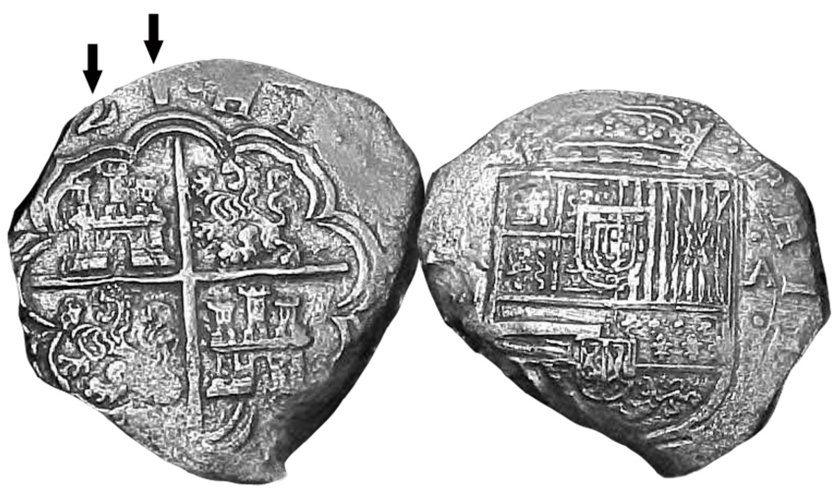 Reverse and obverse sides of a partially dated 1621 silver coin, struck at the Cartagena, Colombia mint that went down on the galleon Atocha near Key West, Fla. in 1622, and is one of a small group of coins that altered the known numismatic history of Colombia. A Dec. 1-5, 2021, event in Cartagena will celebrate the 400-year anniversary of the opening of that mint. Events recognizing the 400-year anniversary of the Atocha's sinking will take place in Key West in 2022. (Photo provided by Bill Pearson)
