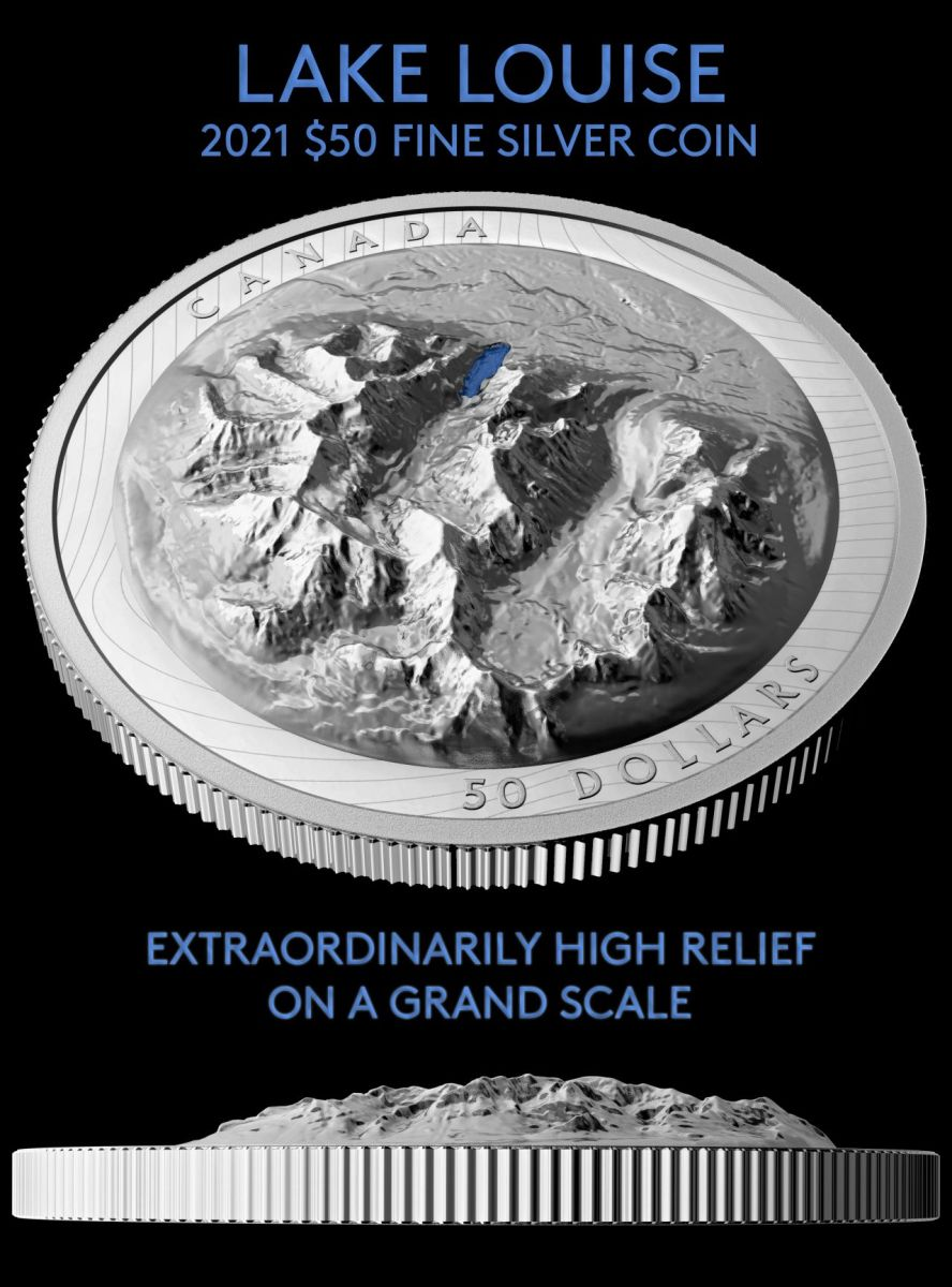 Extraordinary High Relief technology from the Royal Canadian Mint brings the terrain surrounding Lake Louise to life on this lovely new silver $50 release.