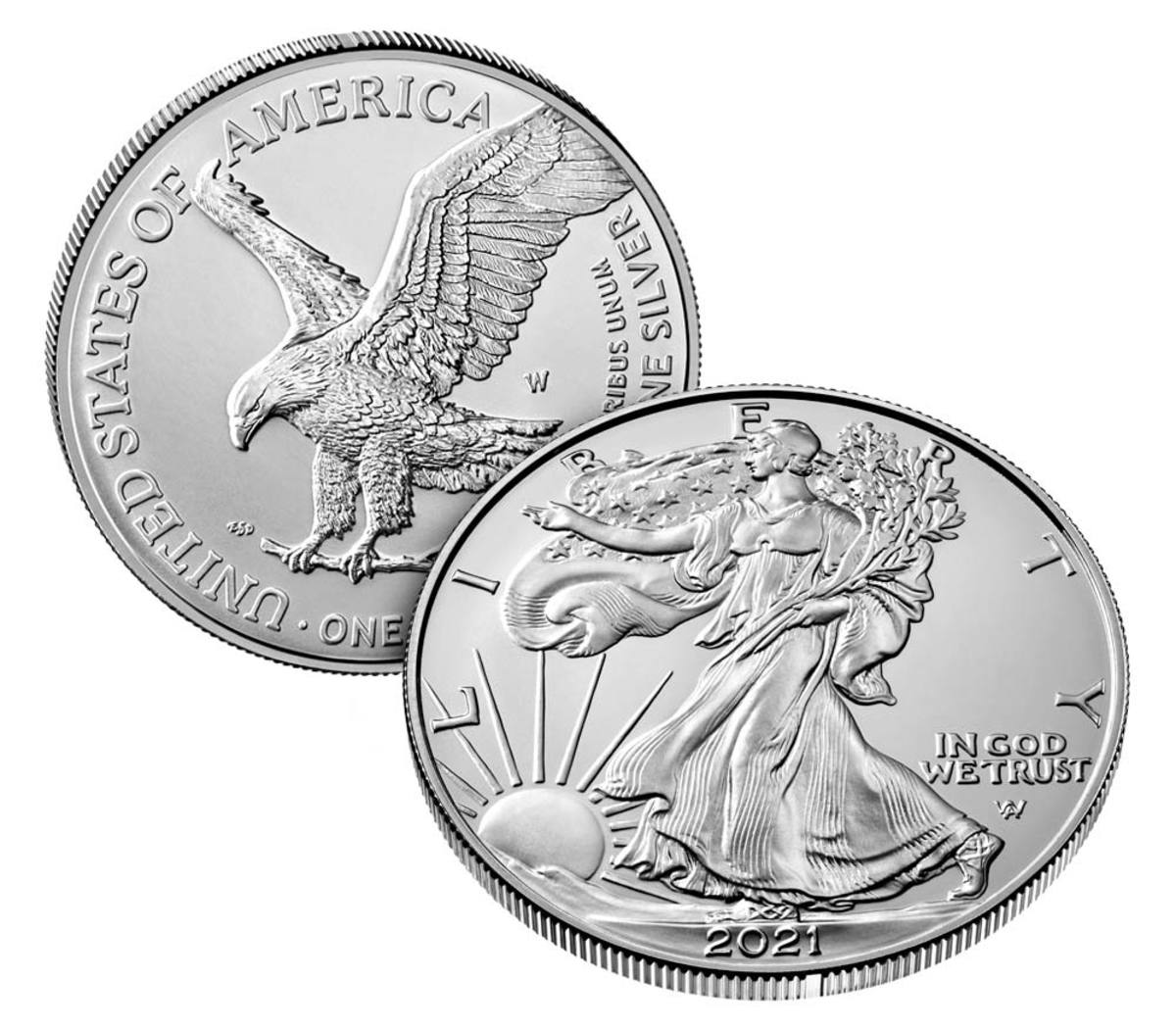 2021-W uncirculated silver Eagle bearing the new design. (Image courtesy United States Mint.)